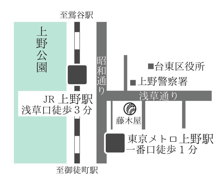 上野・藤木屋のアクセスMAP